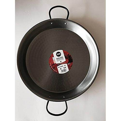 Vaello by Castevia Imports Polished Steel Valencian paella pan 14 Inch (34cm) 6 Servings