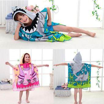 Cartoon Printing Hooded Towel For Children Butterfly Skirt Towel Pink
