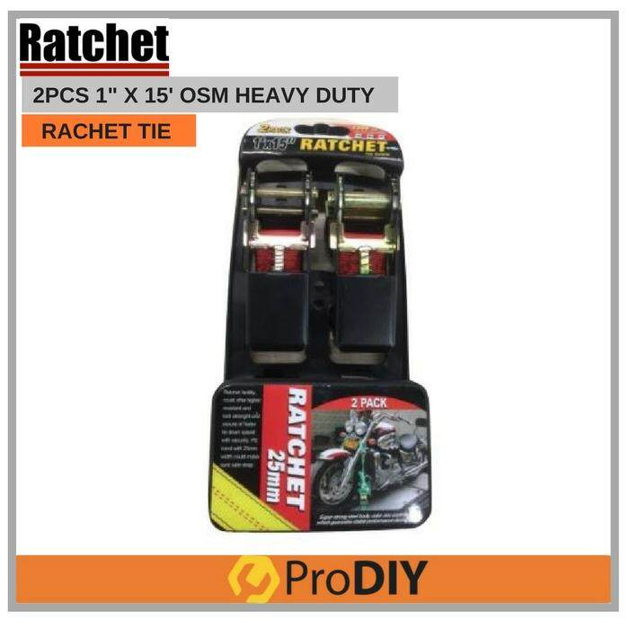 "Ratchet Tie Down Strap Belt With Metal Buckle Luggage Bag Cargo Lashing Heavy Duty 1' X 15"" 1500 LBS ( 2 PACK ) image on snachetto.com"