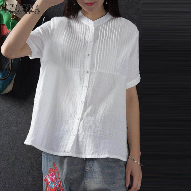 ZANZEA Women Short Sleeve Cotton T-Shirt Blouse Pleated Loose Buttons Down Shirt Tops