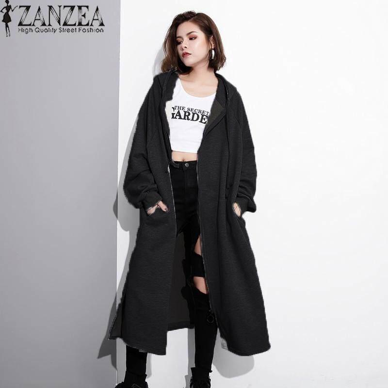 Autumn Winter Women Hooded Coats Trench Coat Solid Color Overcoats Hoodies Dress