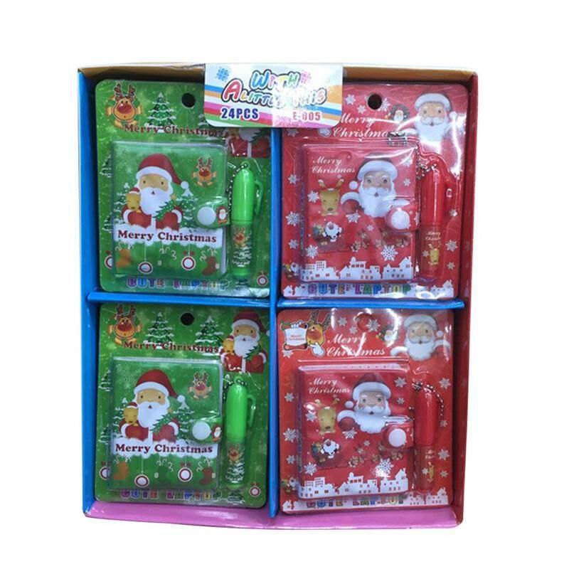 Kartun Natal Daftar Set Notebook Santa Claus Notebook Pena Bolpoin Saku Natal dengan Mini Anak-anak Notepad