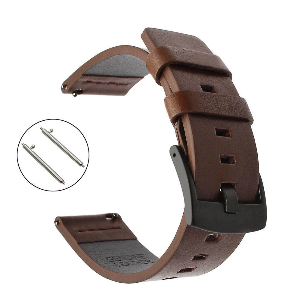 Leather Watchband 22mm Quick Release Watch Band Universal Wrist Strap Steel Buckle Bracelet Black Brown - intl