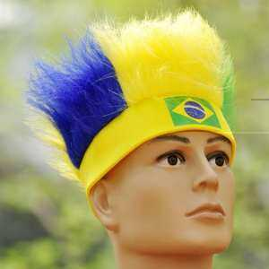 Hình ảnh Novelty Cool 2018 World Cup Hair Wig Football Soccer Fans Hats Headband with National Flag Color Brazil - intl