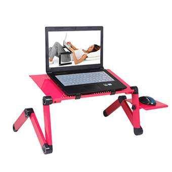 360 องศาโต๊ะวางแล็บท็อปแบบพับได้แบบพกพาโต๊ะคอมพิวเตอร์บนเตียงขาตั้งแล็ปท็อปถาดโต๊ะพัดลมทำความเย็น-
