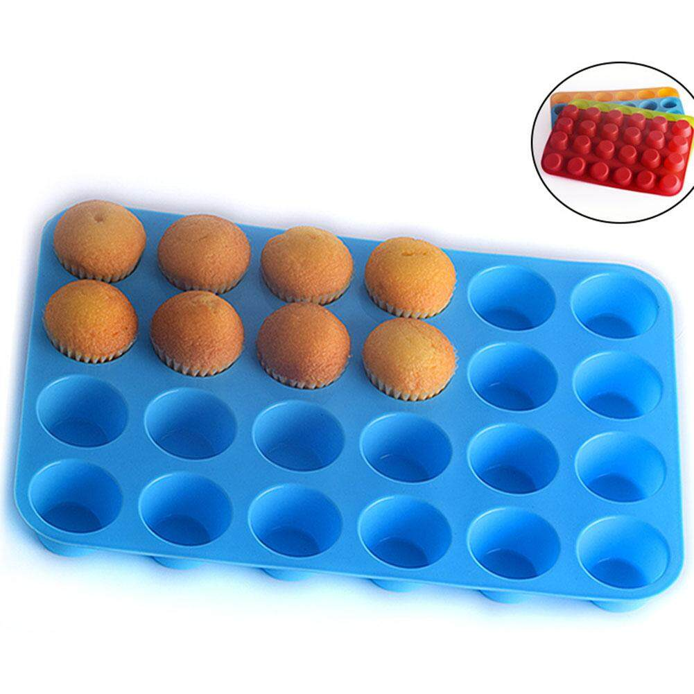 24 Round Holes Cute Silicone Muffin Cake Mold Baking Tool Kitchen Accessories 1PC