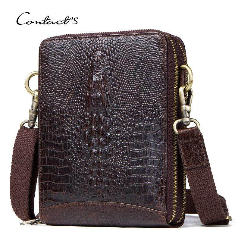 Top Quality Men Messenger Shoulder Bag Genuine Leather Vintage Men's Crocodile Crossbody Bag With Card Holder Mobile Phone Pouch