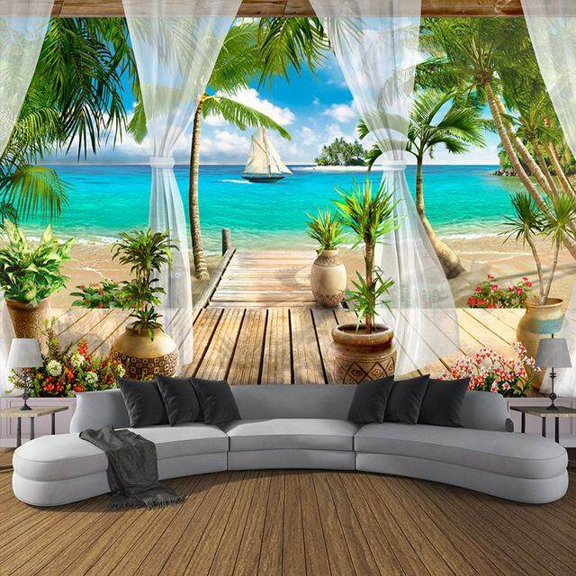 Custom Wallpaper Sticker Beach Balcony For Living Room Sofa TV 3D Mural Wallpaper Home Decoration