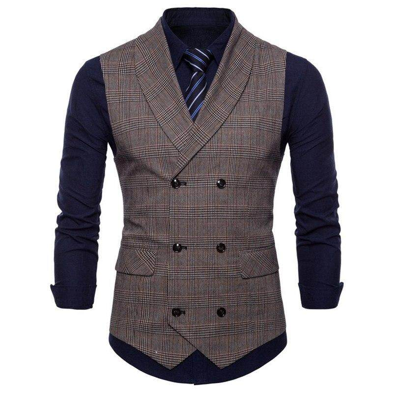 M-4xl 2018 New England Wind Mens Business Vest Fashion Men Cotton Leisure Plaid Small Slim Vest For Male New Style Grey Coffee By Putian Yulongxuanzhubaoshipin Gongsi Ltd.