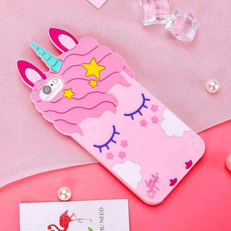 ... 3D Cartoon Unicorn Soft Silicone Phone Case Smile Pink Unicorn Soft Cover for IPhone 5/