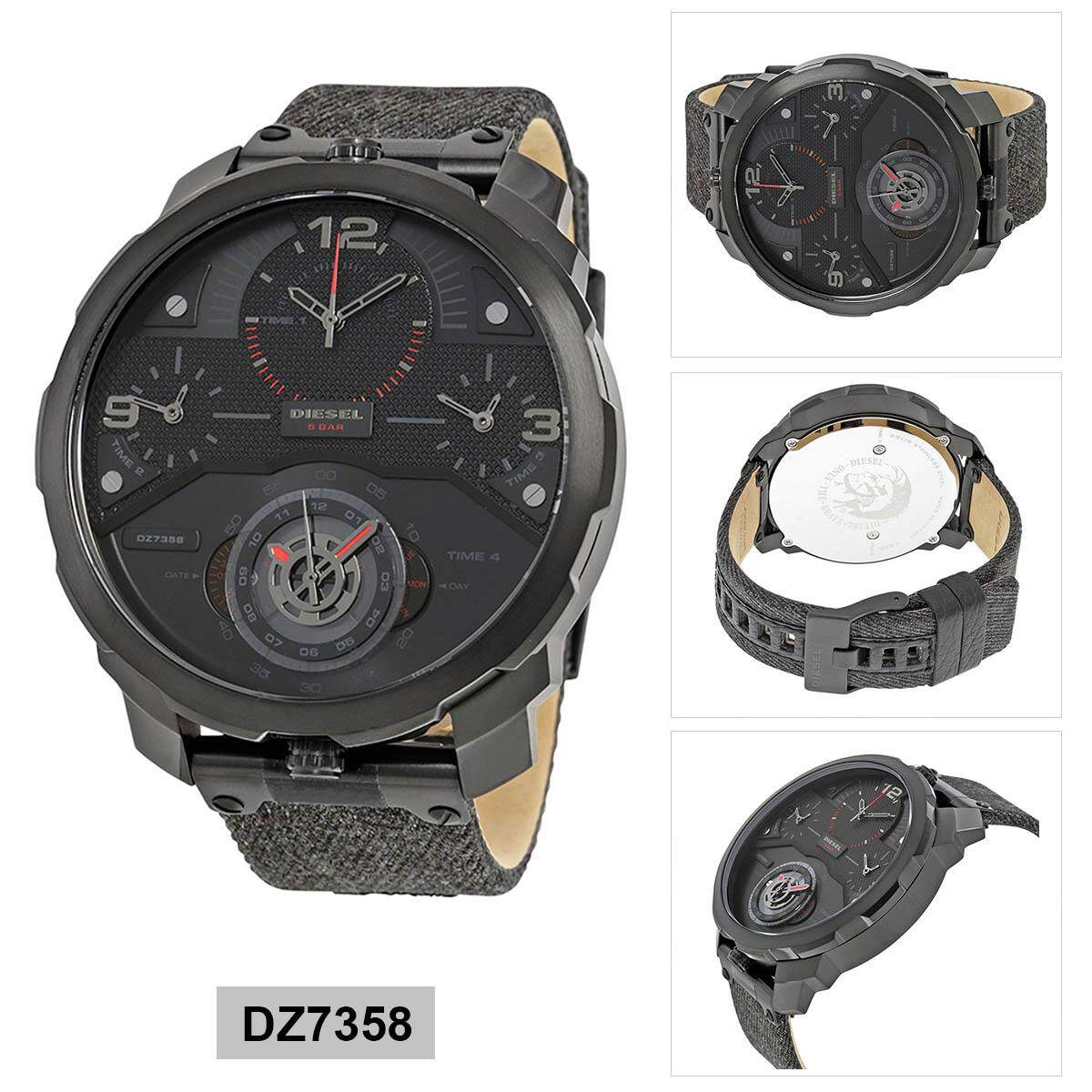 พะเยา Authentic Diesel Machinus Black Stainless-Steel Case Leather Strap Mens DZ7358 2 Years Warranty