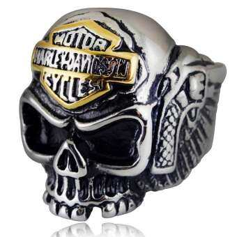 VINTAGE Gothic ROCK ปีกแหวนนิ้วรูปหัวกะโหลกสำหรับชาย Punk ไทเทเนียมแหวนอัลลอยผู้ชายของขวัญเครื่องประดับ Anillos-