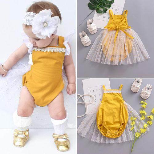 Newborn Infant Kid Baby Girl Romper Tutu Skirt Dress Bodysuit Clothes Outfits