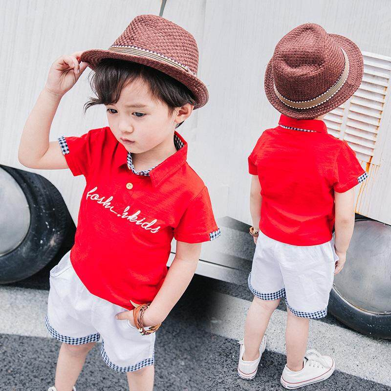 GD store Summer Boys Clothes For Baby Suits Letter Print Polo Shirts+shorts For Kids Clothes Sets White Red Casual Short Sleeve Outfits 2pcs - intl