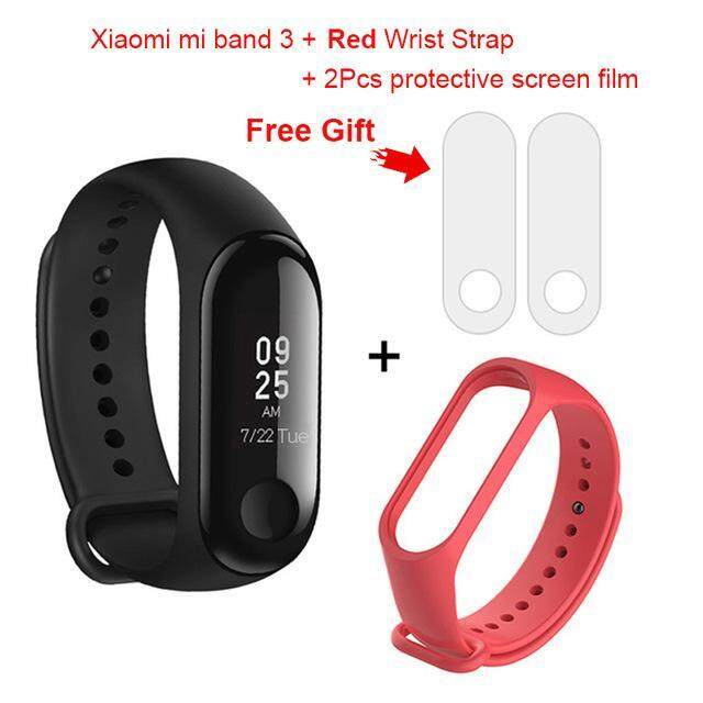 Original Xiaomi Miband 3 Mi band 3 Smart Watch OLED Bluetooth 4.2 Bracelet Wristband with Replacement Strap + 2 Free Screen Protectors