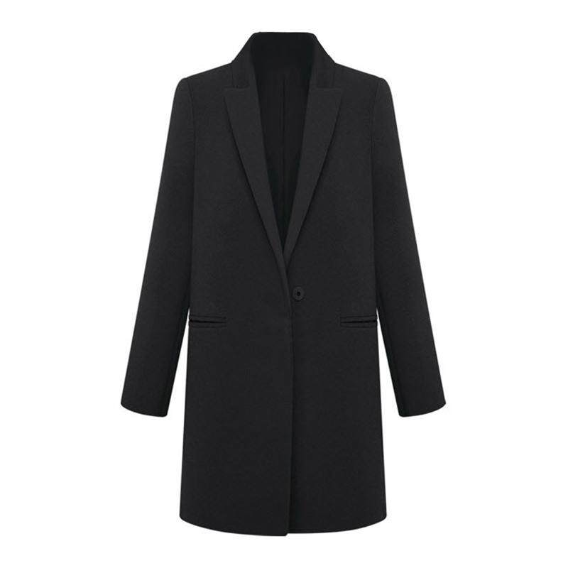 Fashion Womens WOOL Cashmere Long Winter Coat Trench Blazer Suit Jacket Outwear Black - M