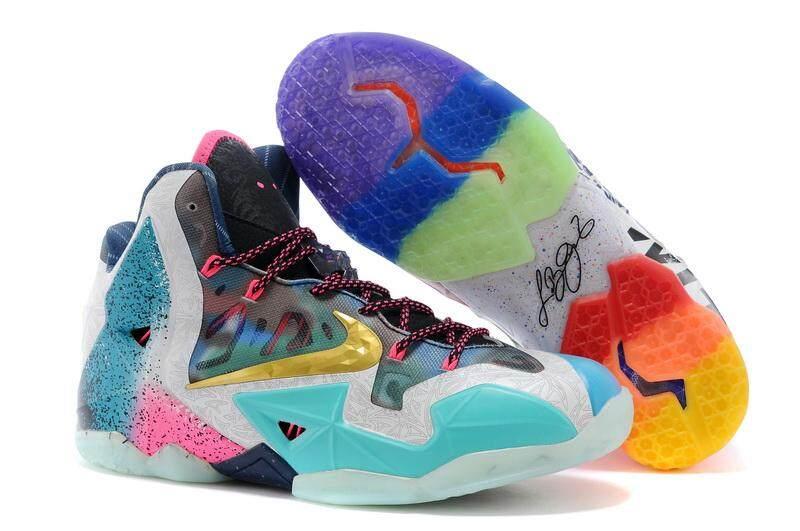 ยี่ห้อนี้ดีไหม  นครราชสีมา Nike Lebron 11 ผู้ชายสบายรองเท้าบาสเก็ตบอลแฟชั่นน้ำหนักเบารองเท้าวิ่ง (Multicolor)