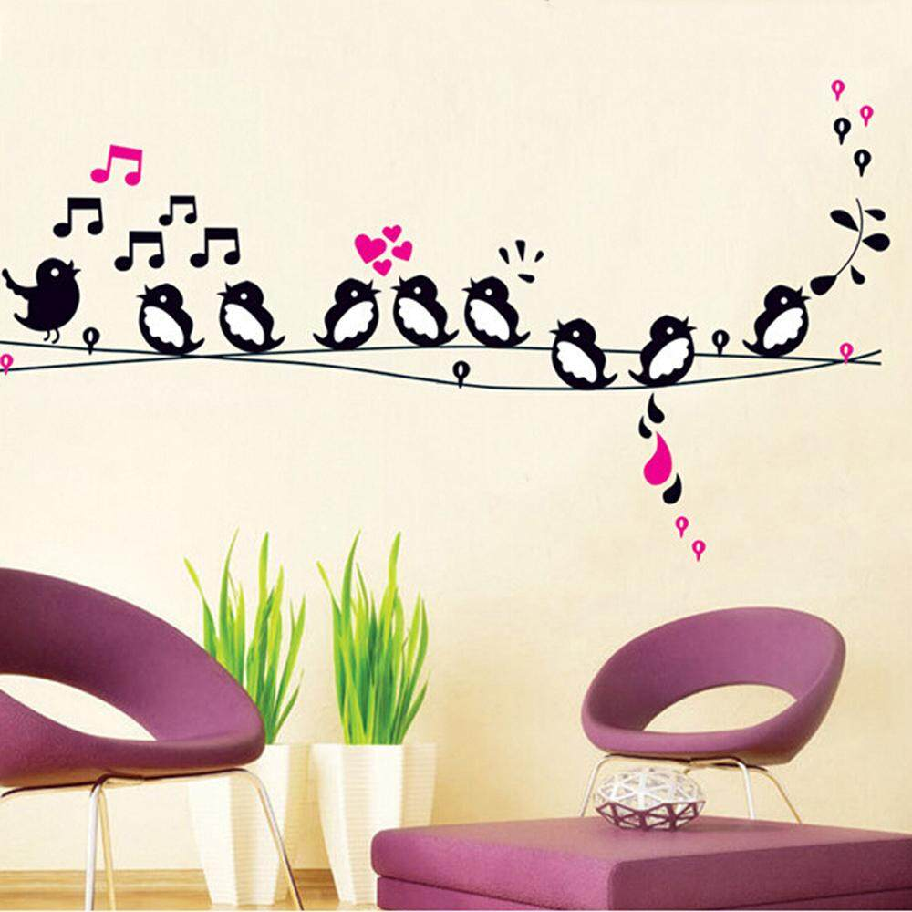 DIY Wall Decal Singing Bird Music Note Home Stickers PVC Murals Wallpaper Environmentally Removable Wall Art Bedroom Living Room Kids Baby Bathroom Window Car Decor