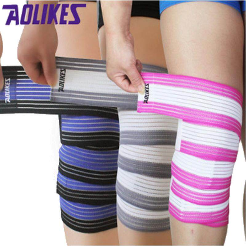 AOLIKES 2 PC 180 Cm Dapat Disesuaikan Elastis Lutut Siku Pergelangan Tangan Pergelangan Kaki Penyangga Pembungkus Sport Pelindung Bandage Tali- Internasional ...