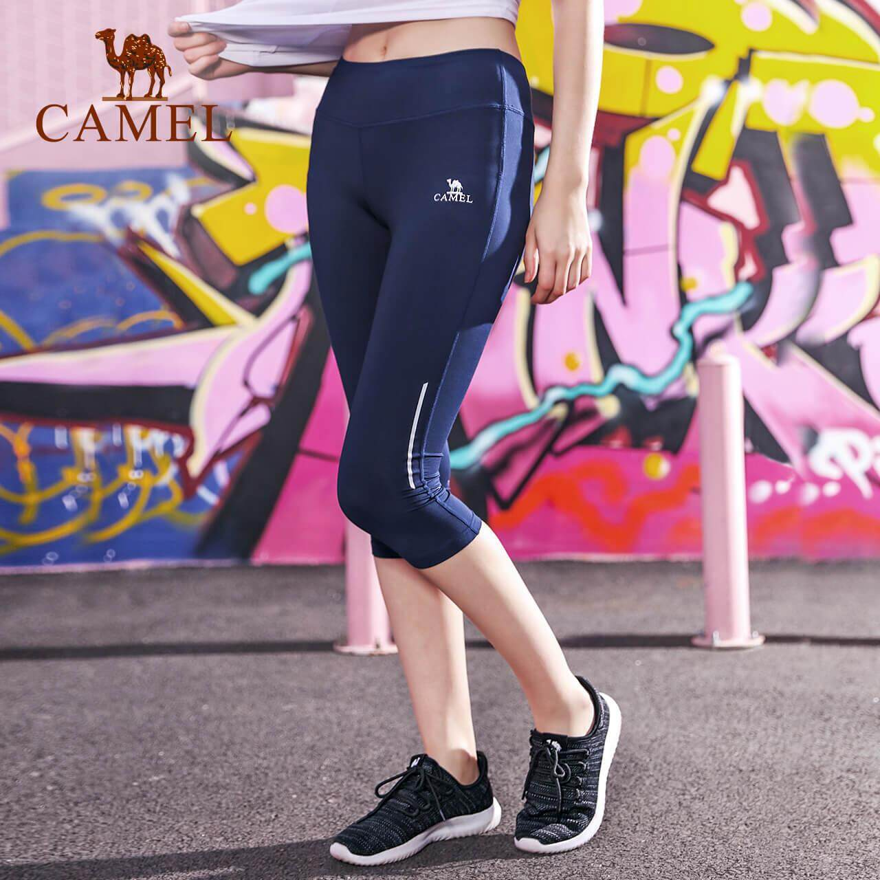 CAMEL Women yoga Cropped trousers quick-drying summer short pants breathable running sports knitted fitness pants