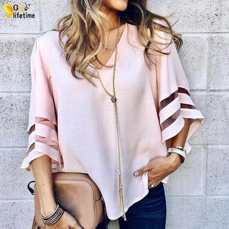 Womens 3//4 Bell Sleeve Shirts,Ladies Solid Hollow Out Casual Loose V Neck Blouse Top