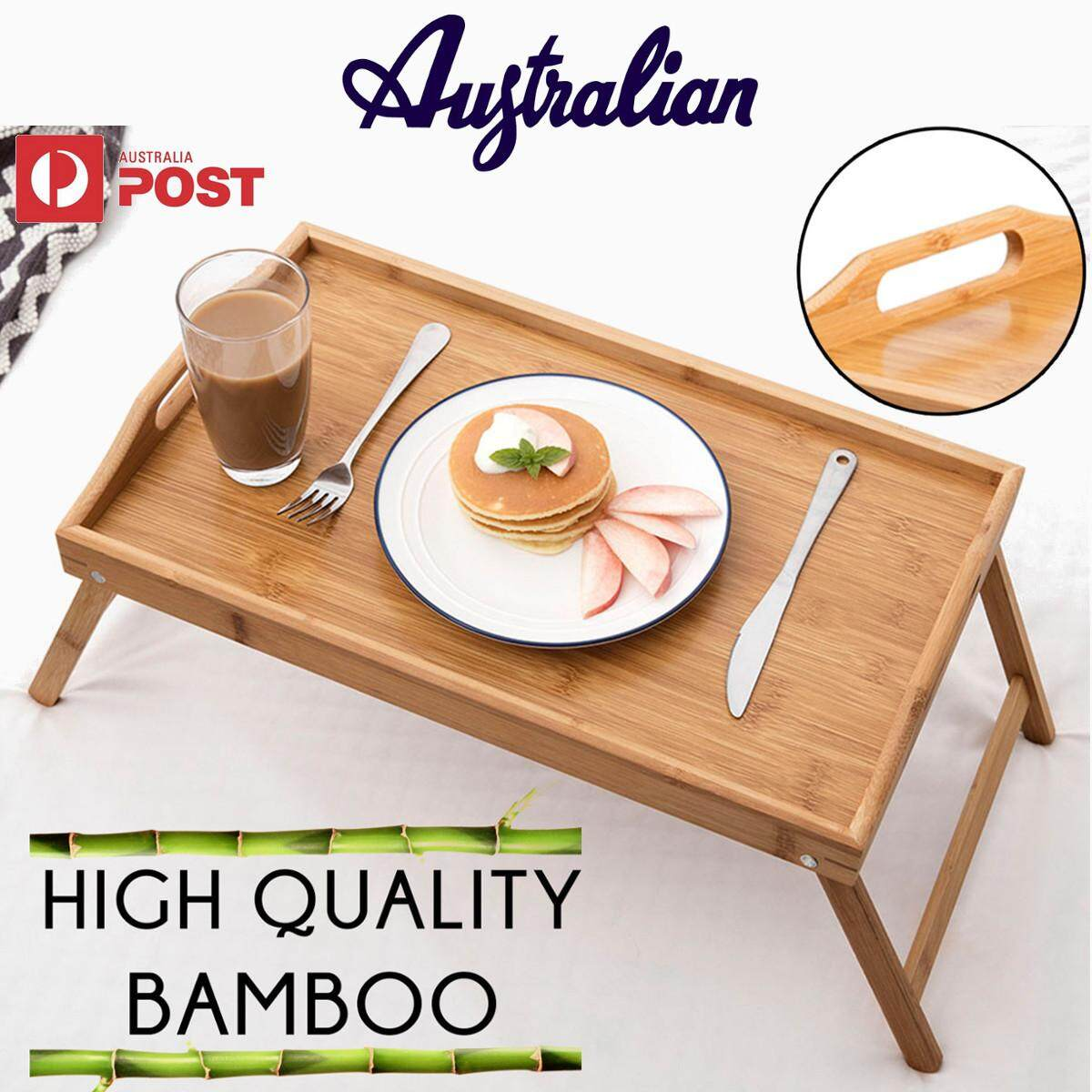 New Bamboo Tray Large Serving Table Bed Breakfast Drinks With Handles wholesale