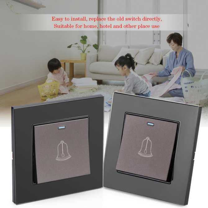 Tempered Glass Panel Doorbell Wall Door Bell Switch Push Button 220~250V Home Hotel Devices