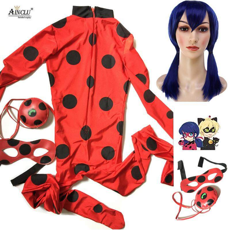 Ainclu Costume Lady Bug kids Costumes Girls Women Children Girl Spandex Miraculous Ladybug Cat Noir Adult Romper Halloween Fancy Dress