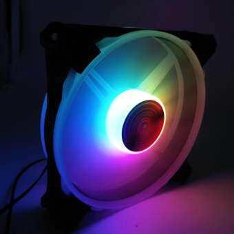12V 33CFM 6Pin RGB ไฟสีสันสดใส 12 ซม.DC เคสคอมพิวเตอร์แชสซีพัดลมทำความเย็น-