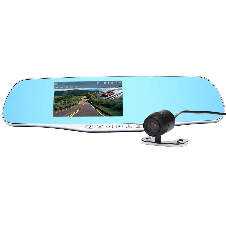 robxug Dual Lens Rear View Mirror Car Driving Recorder HD Anti Dazzle Screen Car Video Recorder - intl