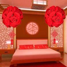 【2个新年福字绣球】2 PCS Chinese New Year Red Hanging Hydrangea Ball Lanterns Chinese Spring Festival Wedding Restauran Decoration