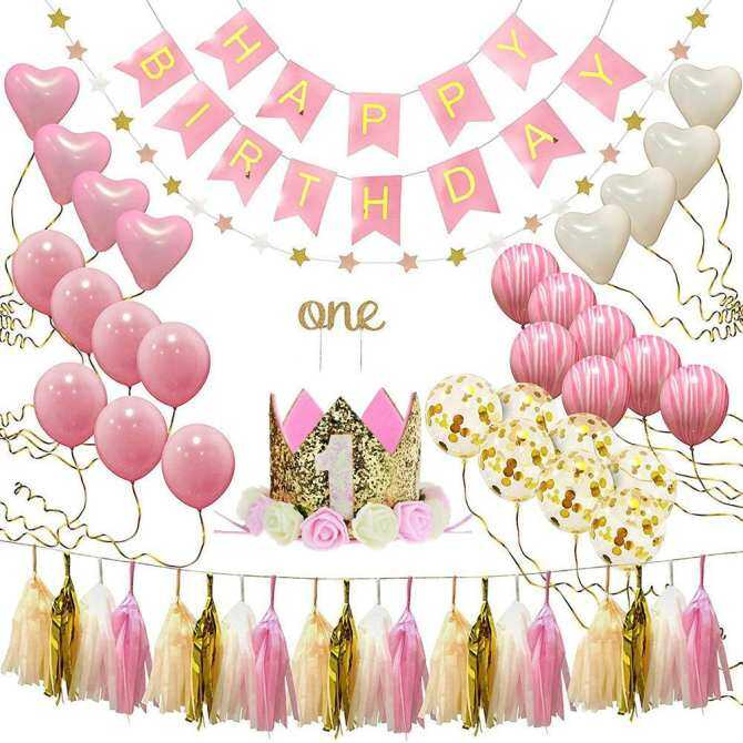 Auoker First Birthday Decorations For Girl One Year Old Party Decoration Happy Banner Cake Topper Star Garland Marble Pink