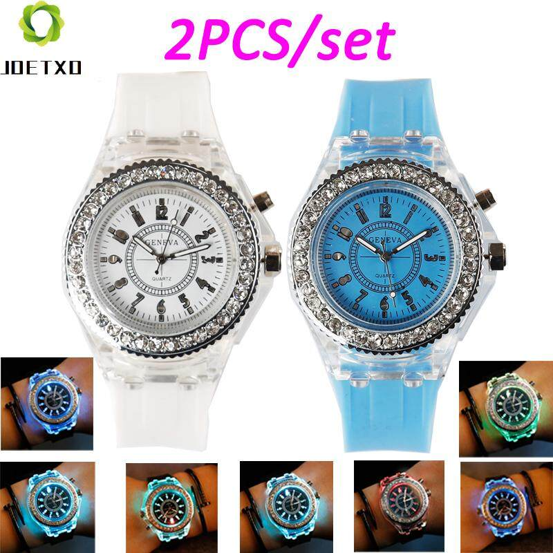 2Pcs/Set GENEVA Women's Fashion Korea style Watches Luminous Rhinestone Silicon Wrist Watch For Student 7 Light Pattern - intl