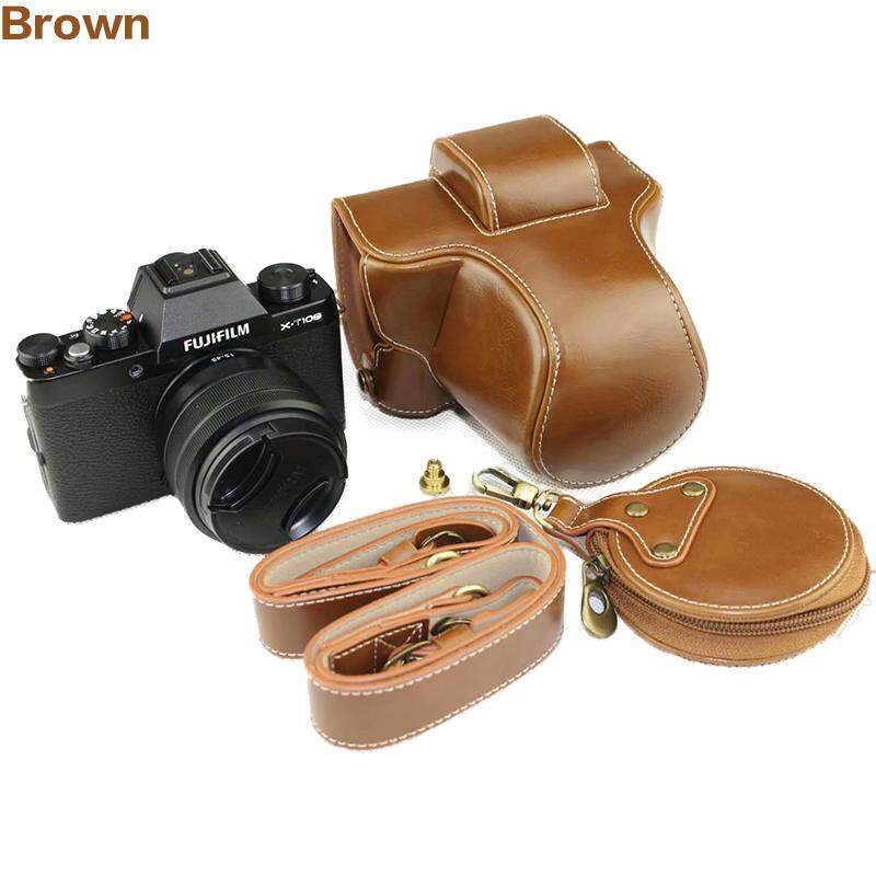 Luxury Camera Case For Fujifilm XT100 X-T100 Camera PU Leather Camera Bag Cover With Strap Mini Pouch