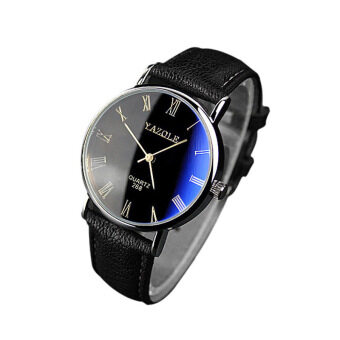Luxury Fashion Faux Leather Mens Quartz Analog Watch Watches Black