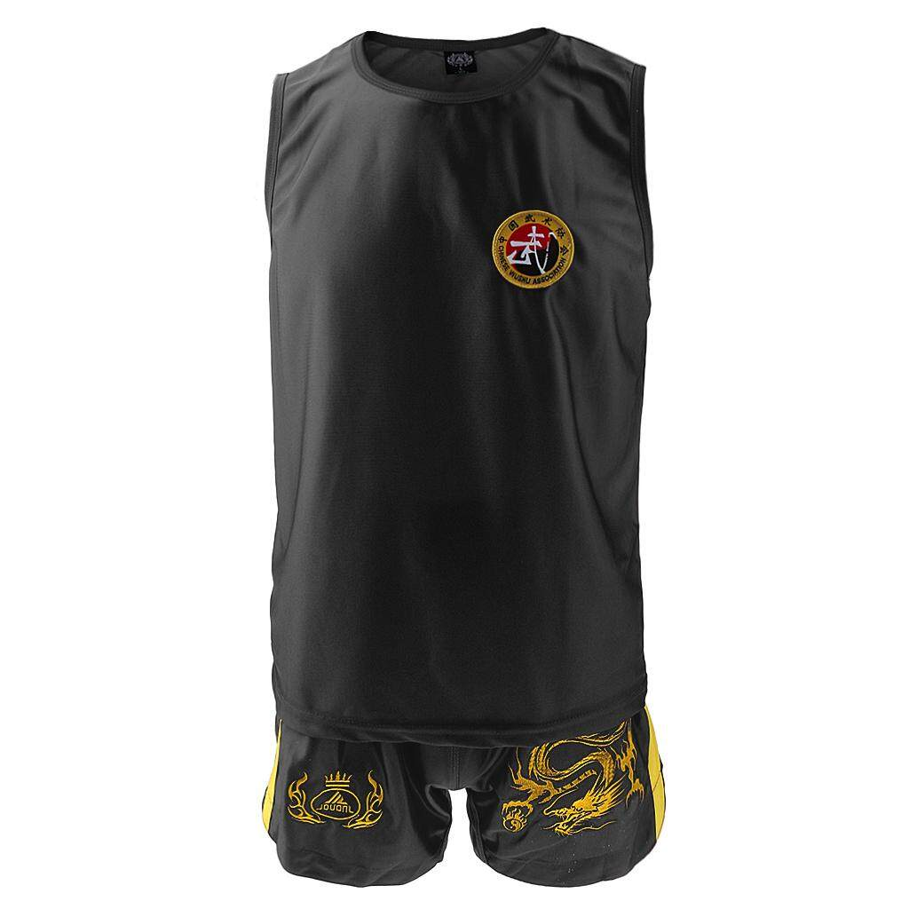 Flameer Boxing Martial Arts MMA Clothes Dragon Embroidered Uniform Shorts Black XL