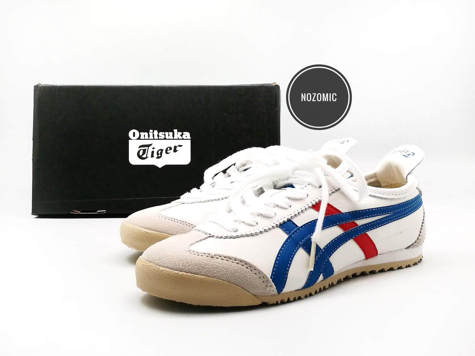 79efcbc136 Asics Onitsuka Tiger Mexico 66 White Base With Blue Red Stripes Leather  Sneakers for unisex