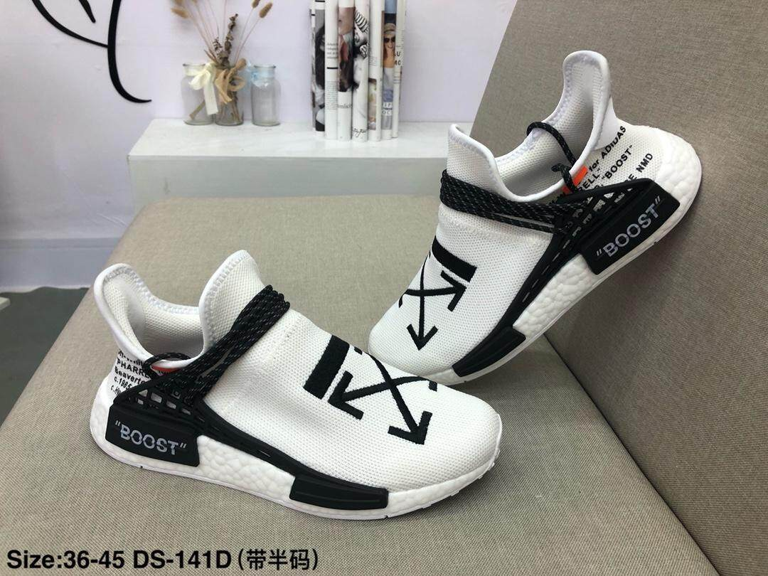 best website 23a8b aaeba Originals Adidas HUMAN RACE NMD 'Off-White' joint name human real knitting  super soft BASF fashion casual shoes