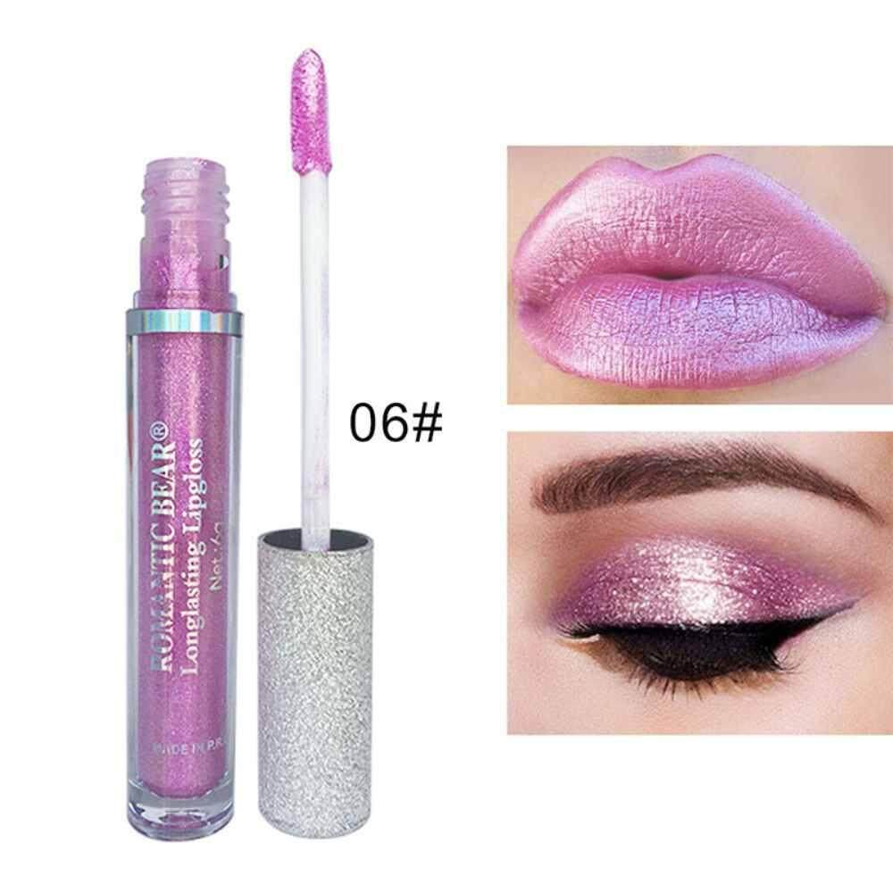 Qooiu ROMANTICBEAR 12 สี Diamond Shine Serie Lipgloss อายแชโดว์ 2 In 1 Glitter Pigment Lipgloss LIPS Eyes