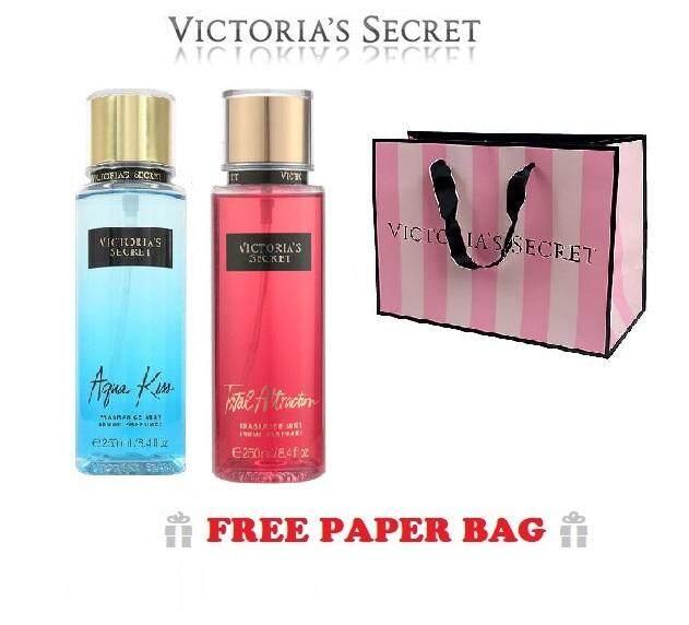 Victoria Secret Aqua Kiss and Total Attraction (Round Shape) Body Mist Set- 250mL