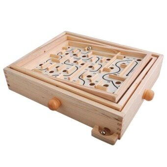 Classic Wooden Labyrinth Tilting Maze Board Game W/Balls Familychallenge Balance Game Large Size