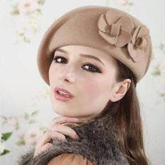 Fashion Women Lady Wool Beanie Cap Warm Felt Flower Beret Ski Tam Hat Skull