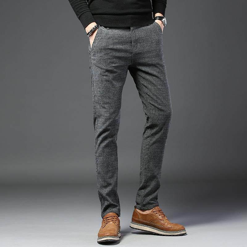 กางเกงลำลองผู้ชายคุณภาพ Easy ที่หนีบผมใส่ใจฟรีลายสก๊อตเต็มความยาวผ้าลินินสีฟ้าสีดำสีเทา Slim กางเกง