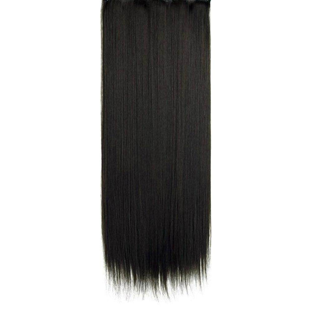 BZY High Quality Human Hair Silk 60cm Straight Hair Extension with 5 Clips Hair Weave for Fashion Black image