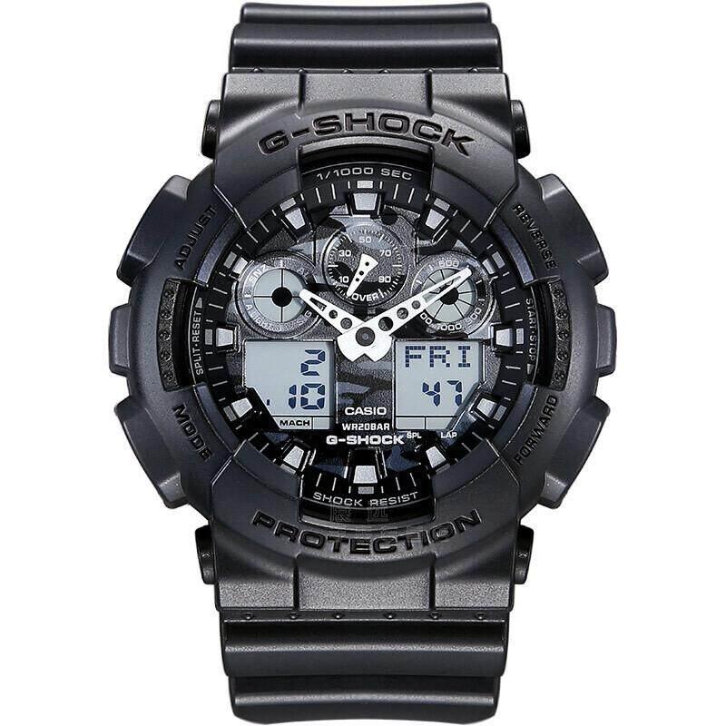 ยี่ห้อนี้ดีไหม  ชุมพร 【 STOCK】Original _ Casio_G-Shock GA-100 Duo W/เวลา 200M กันน้ำกันกระแทกและกันน้ำโลกนาฬิกากีฬาไฟแอลอีดีอัตโนมัติ Wist นาฬิกากีฬาสำหรับ MenGA-100CF-8A Camou