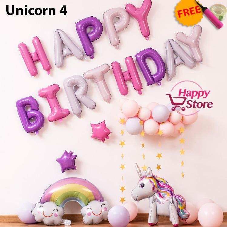 Unicorn Happy Birthday Party Decoration Balloon Set
