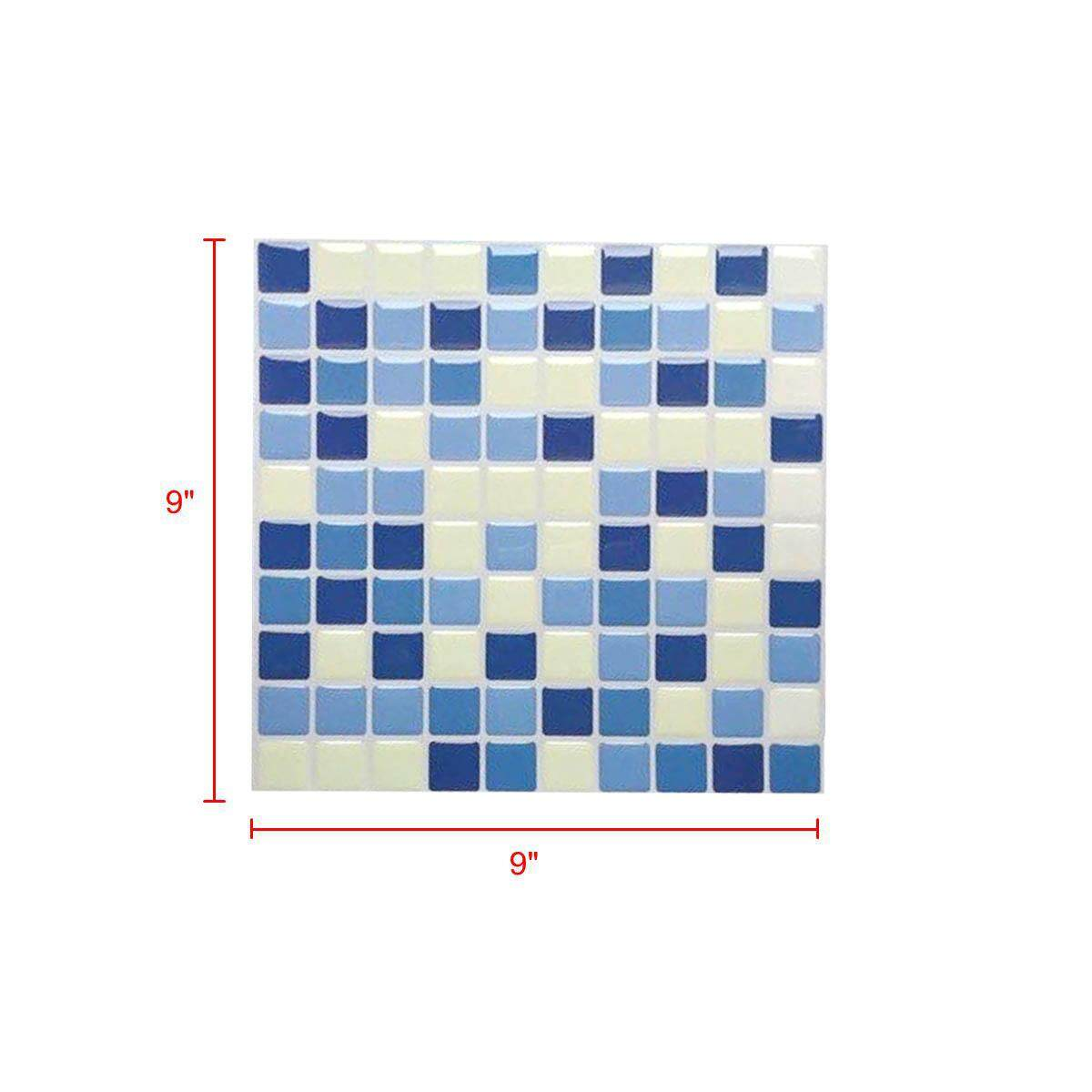 3D Wallpaper Mosaic Texture Sticker Home Indoor Deco Grid With Blue & White