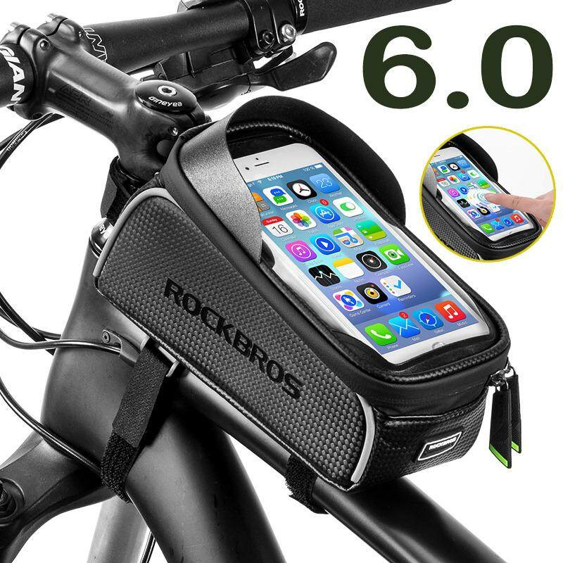 """RockBros 6.0"""" Touchscreen Mountain Road Bike Bag Top Front Frame Tube Light Rain-proof Cycling Bag Reflective Bicycle Accessories Black"""