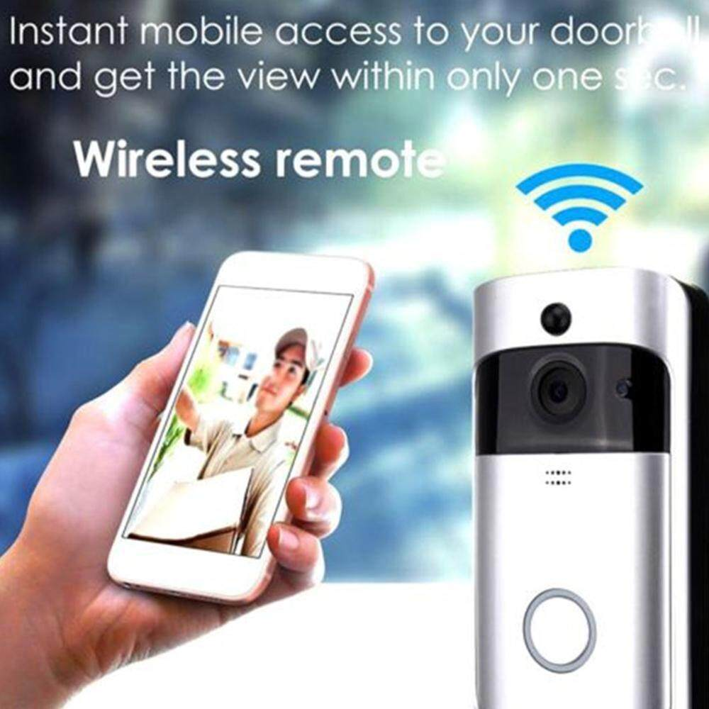 Black Smart WiFi Doorbell 1080P HD Security Camera with Real-Time Video Two Way Talk Cloud Storage PIR Motion Detection Night Vision Wireless Video Doorbell APP Control for iOS Android