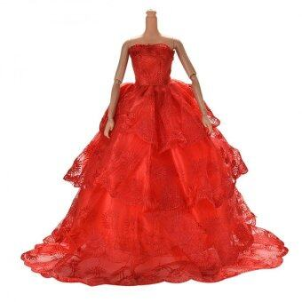 """Red Embroidery Luxurious Wedding Lace 4 Layers Dress for 11"""" Barbies"""